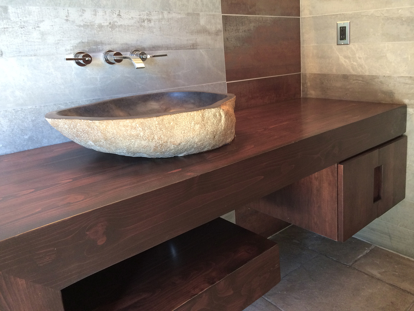 Stone Sink / Wood Floating vanity