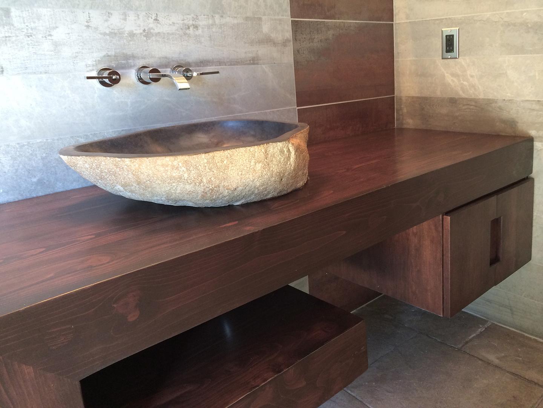 Stone Sink / Wood Floating vanity