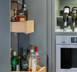 Wet bar cabinetry detail