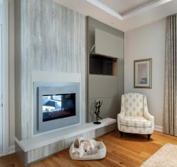 Master bedroom fireplace and television