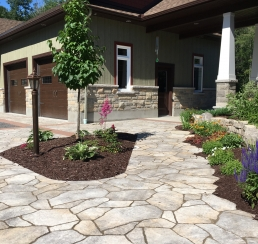 Walkway & flower beds